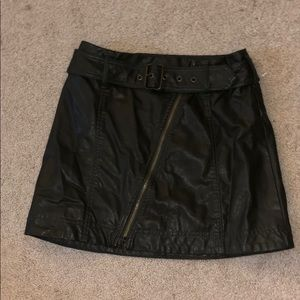 FP army green faux leather skirt
